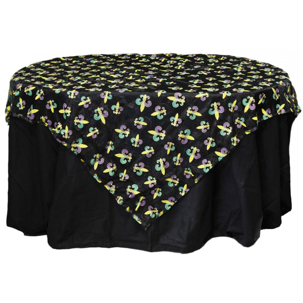 Mardi Gras Fleur De Lis Table Cover Black Sheer Pst55920