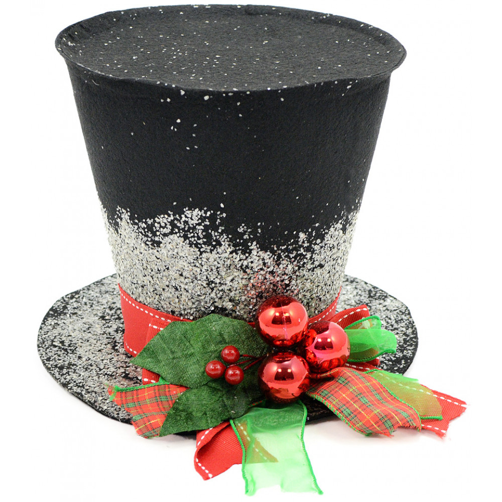 Black christmas holly top hat decoration quot