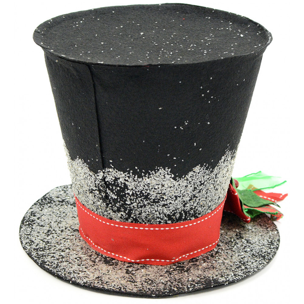Christmas Top Hat.Black Christmas Holly Top Hat Decoration 7