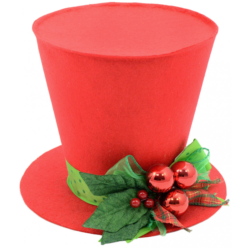 red christmas holly top hat decoration 7