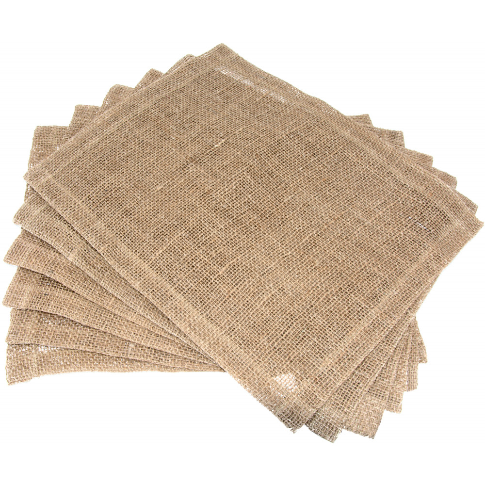 Burlap placemat with hemmed edge set of jh p
