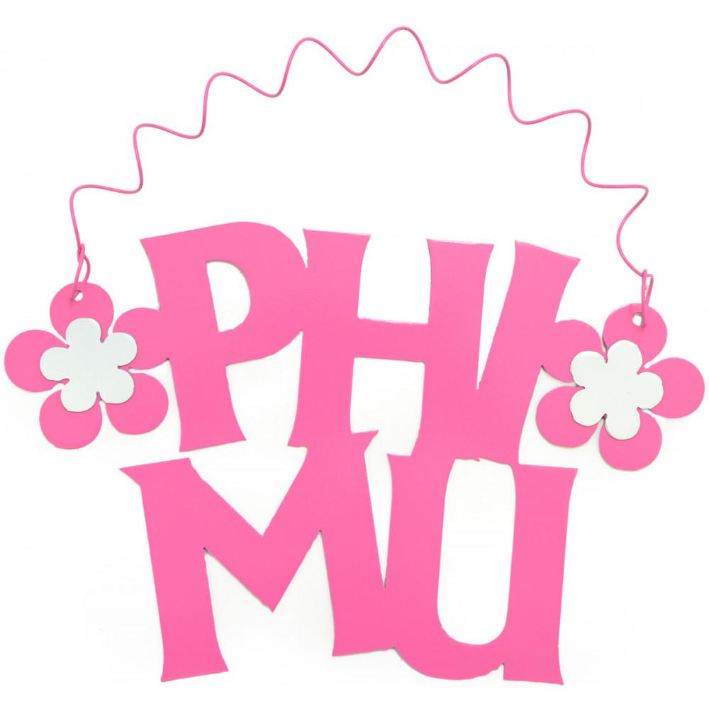 "Phi Mu Flower Hanging Metal Sign: 10"" [] - MardiGrasOutlet.com"