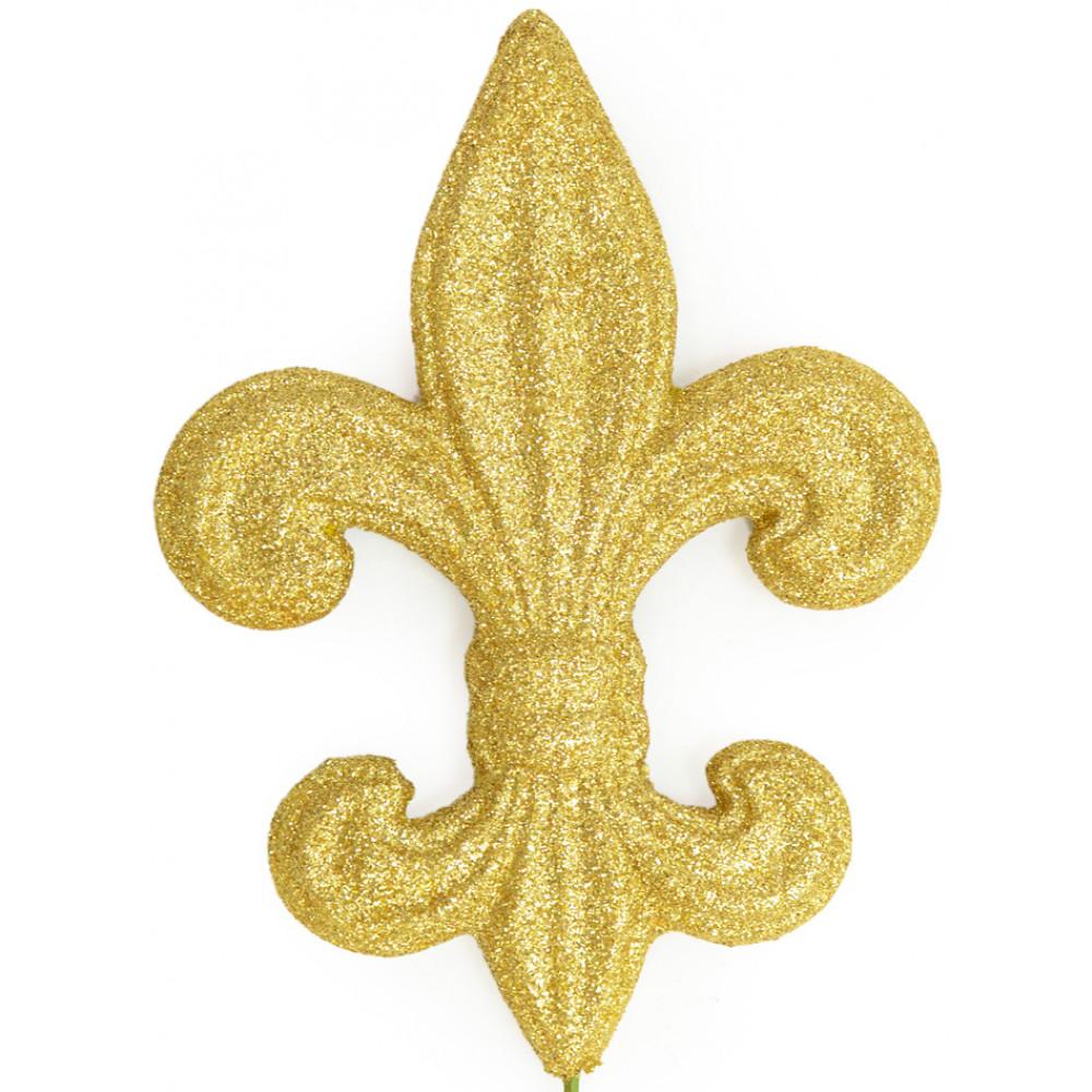 gold glitter fleur de lis pick 6 mz166008