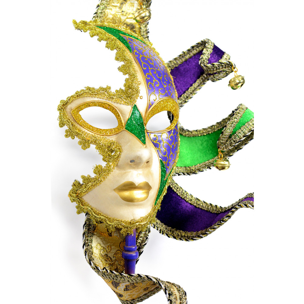 Mardi Gras Starburst Half Mask on a Stick [36001] - MardiGrasOutlet.com