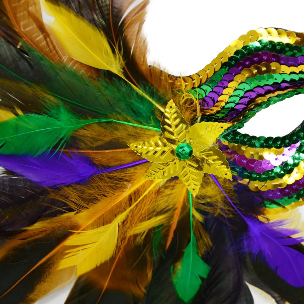Feather burst sequin mask pgg 36012 mardigrasoutlet feather burst sequin mardi gras half mask pgg amipublicfo Images