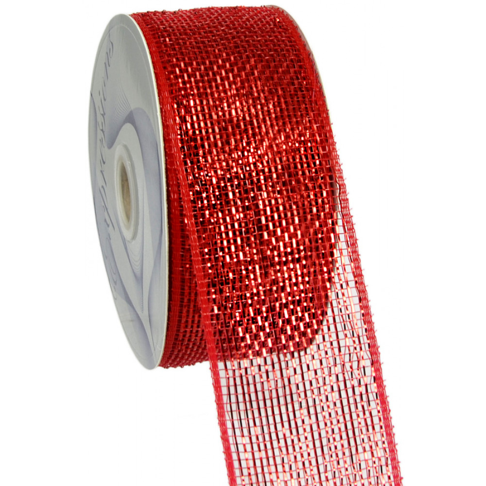 2 5 Quot Poly Mesh Ribbon Metallic Red Rs200424
