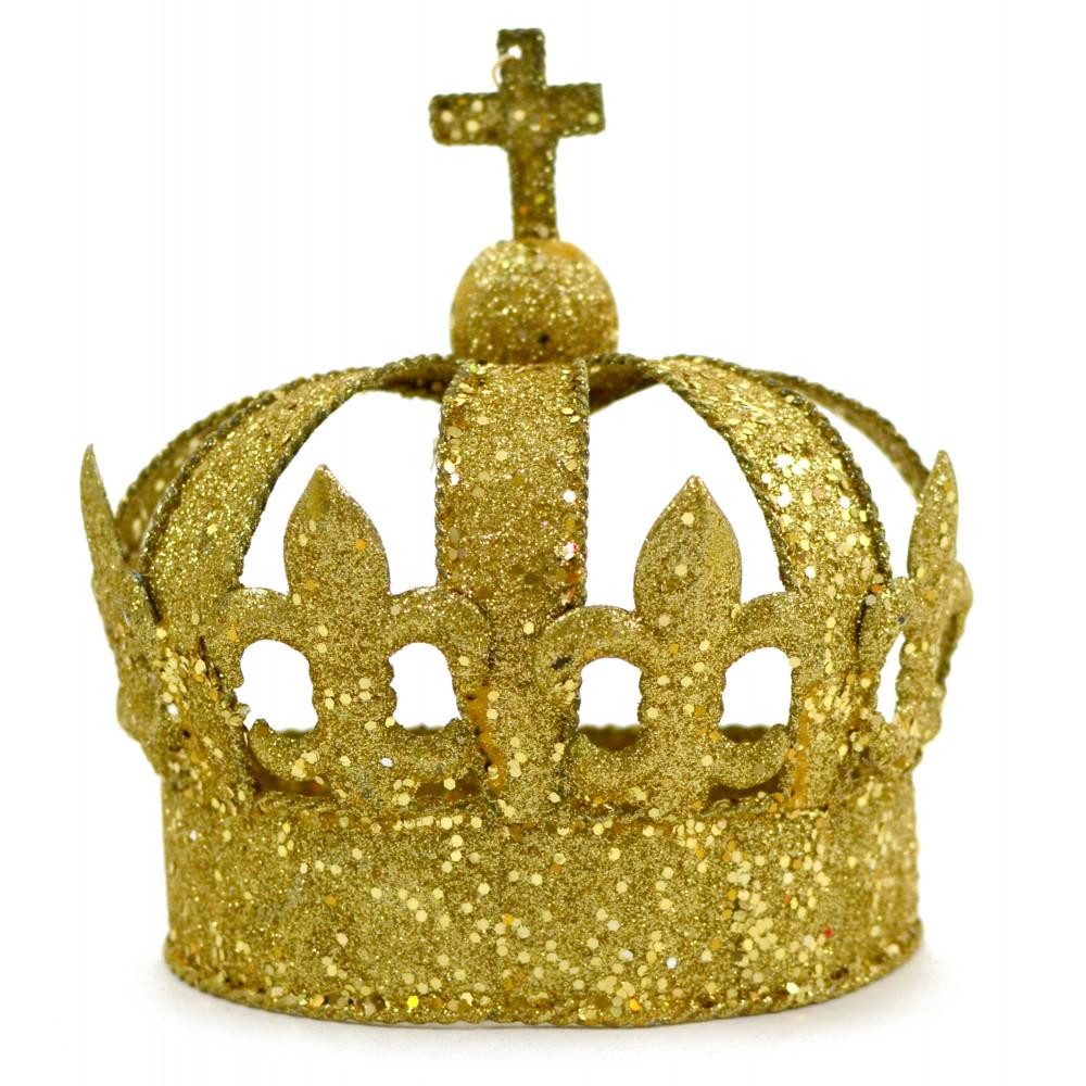 Gold Glitter Half Crown Decoration [CA520] - MardiGrasOutlet.com