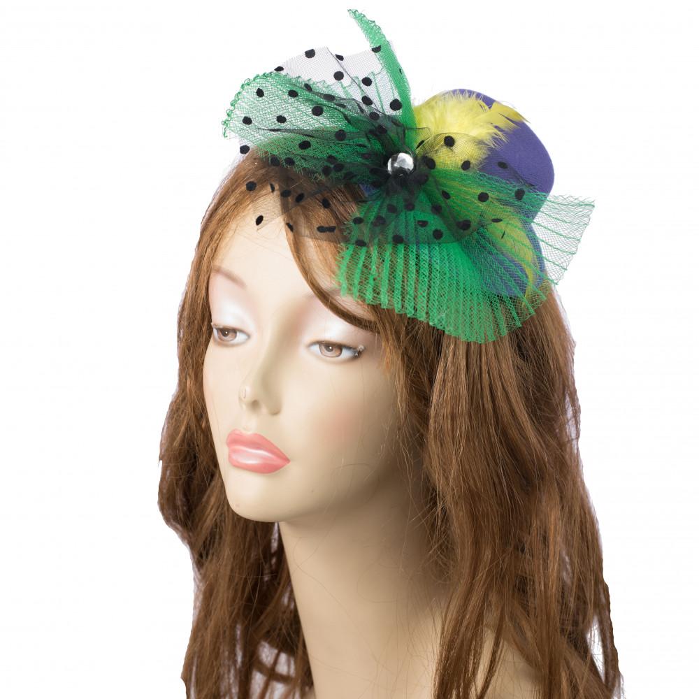 Mardi Gras Mini Top Hat Fascinator  PGG  8-100  - MardiGrasOutlet.com 16eee74ab25