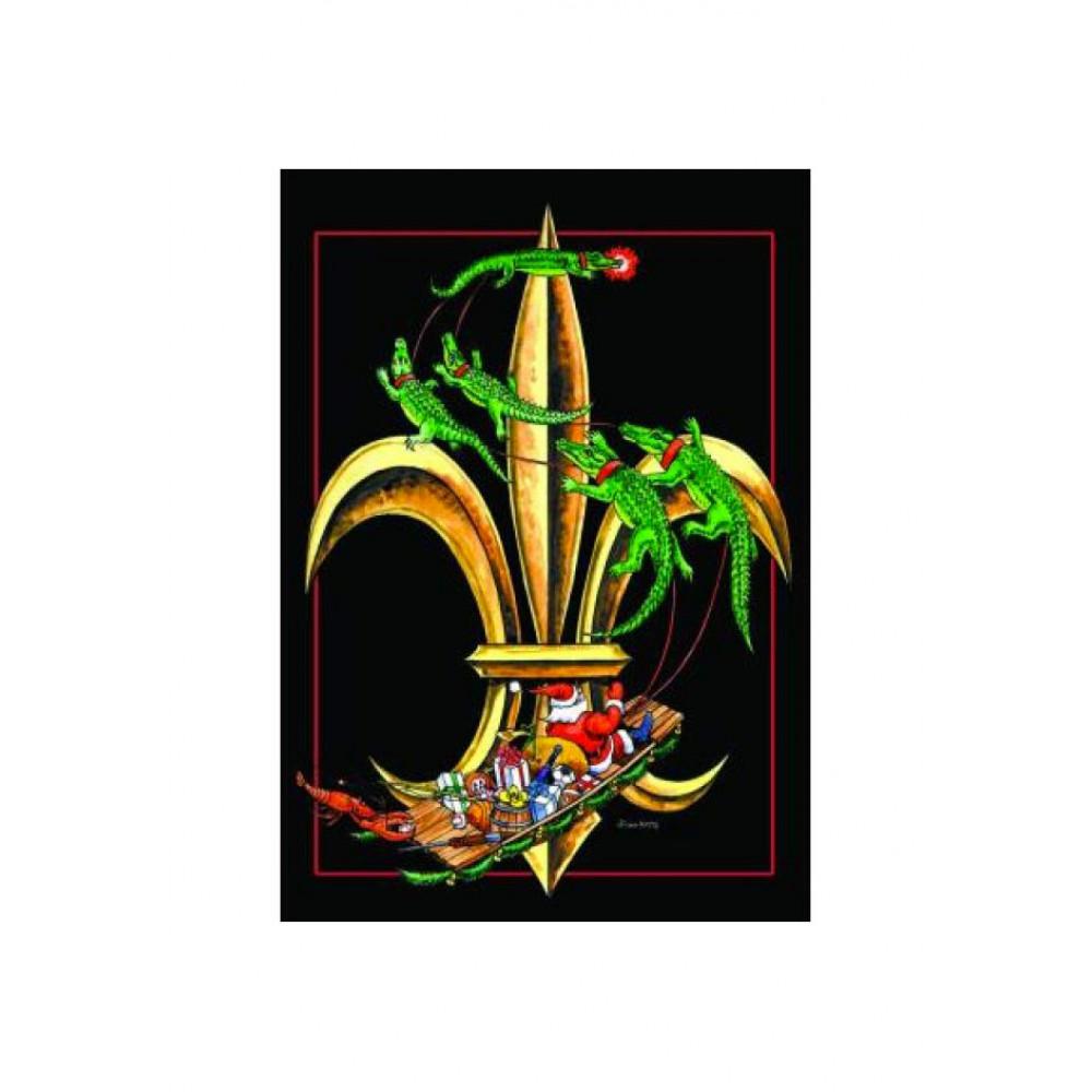 Delightful Santa Fleur De Lis Garden Flag
