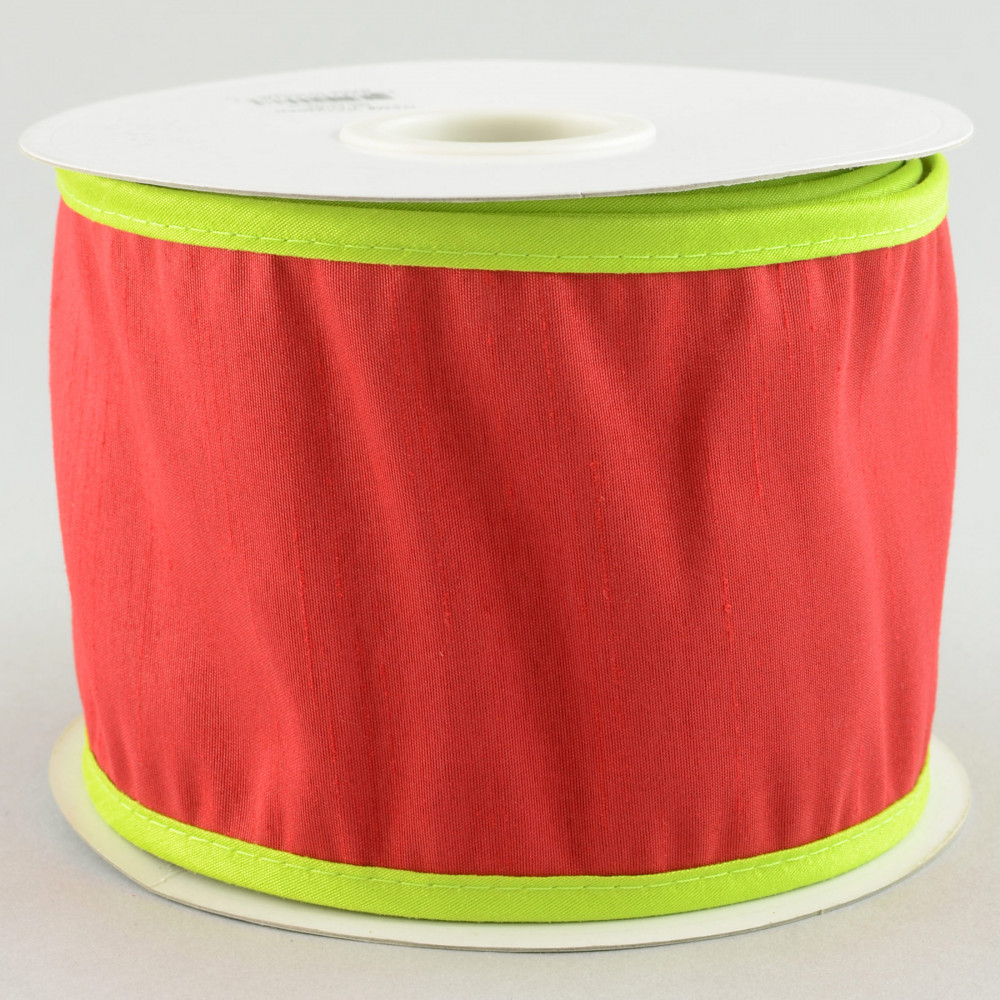 """4"""" Faux Dupioni Silk Ribbon: Red With Lime Trim (10 Yards"""