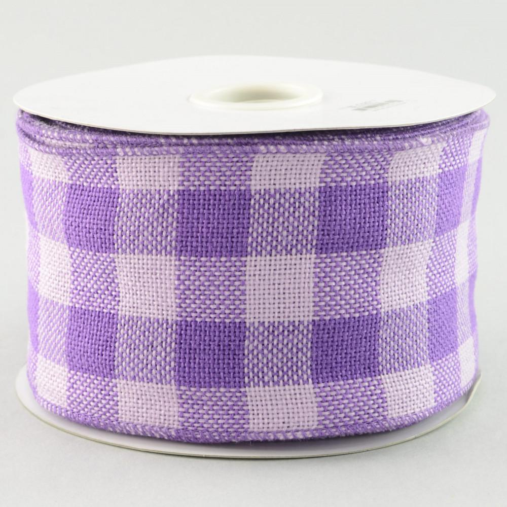4 Quot Faux Burlap Lavender Gingham Check Ribbon 25 Yards