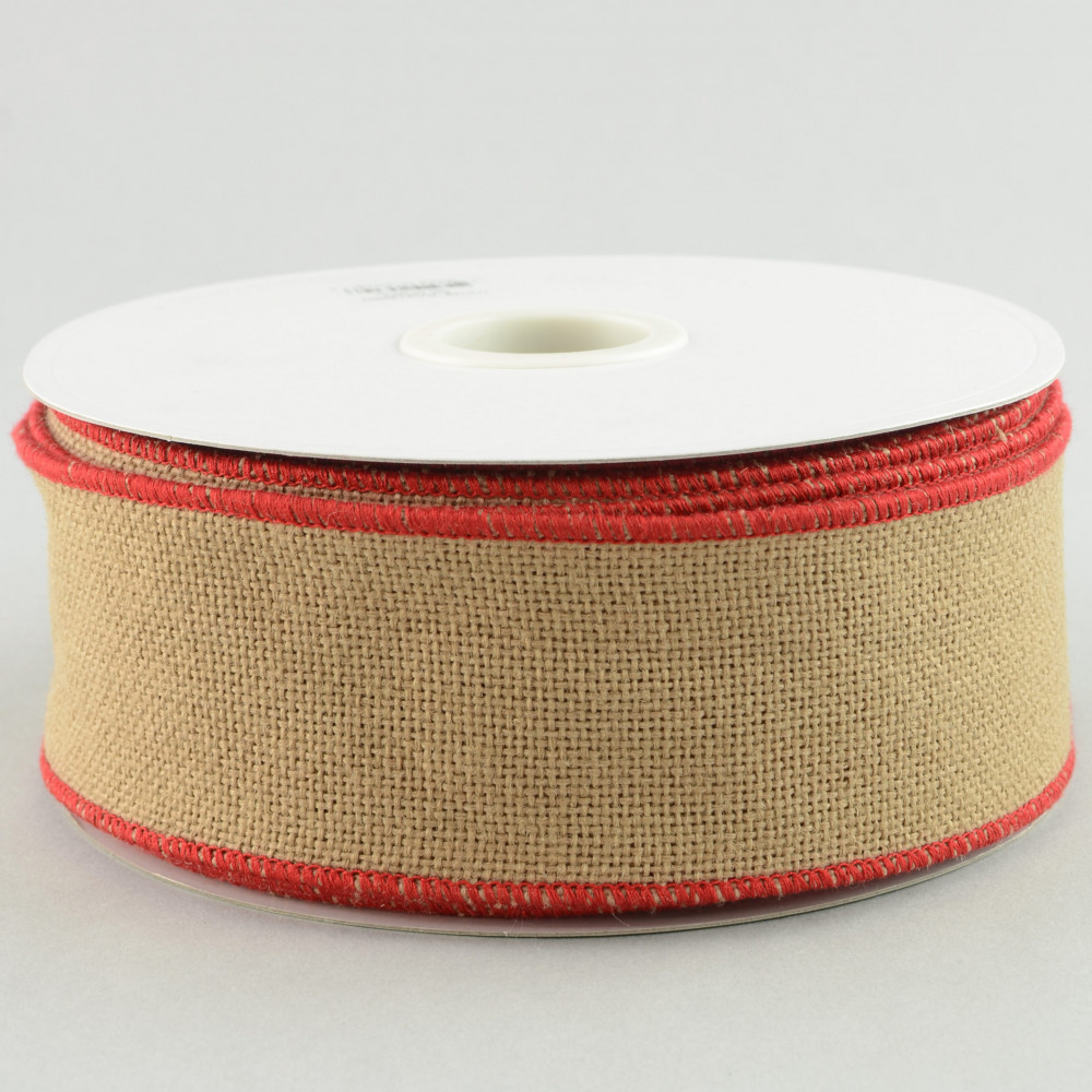 2 5 faux burlap ribbon natural with red trim 25 yards for How to use burlap ribbon