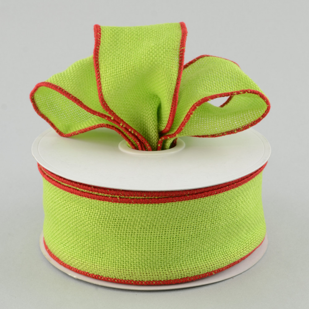 2 5 faux burlap ribbon lime green with red trim 25 for Green burlap ribbon