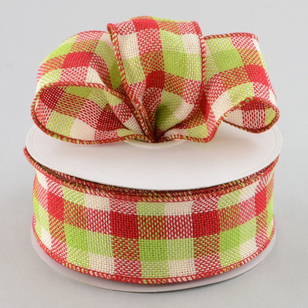 2 5 Quot Faux Burlap Red Lime Amp Cream Plaid 25 Yards
