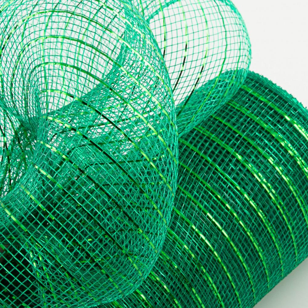 10 Poly Mesh Roll Metallic Emerald Green Re130106