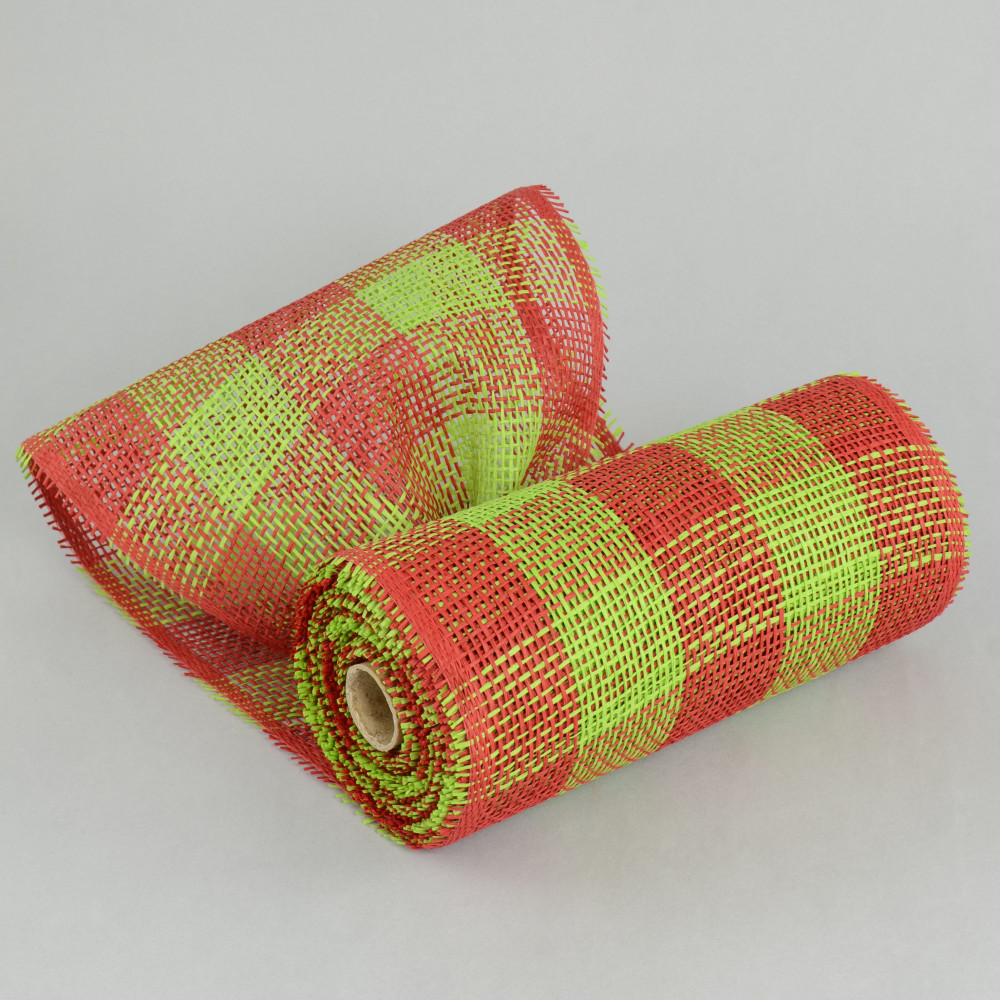 10 Quot Paper Mesh Roll Red Lime Plaid Rr800235