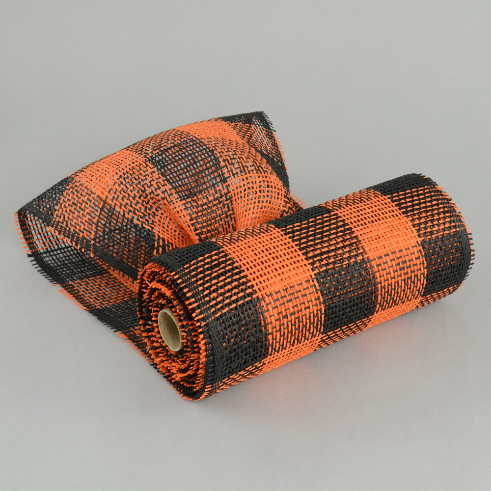 10 Quot Paper Mesh Roll Orange Black Plaid Rr800236