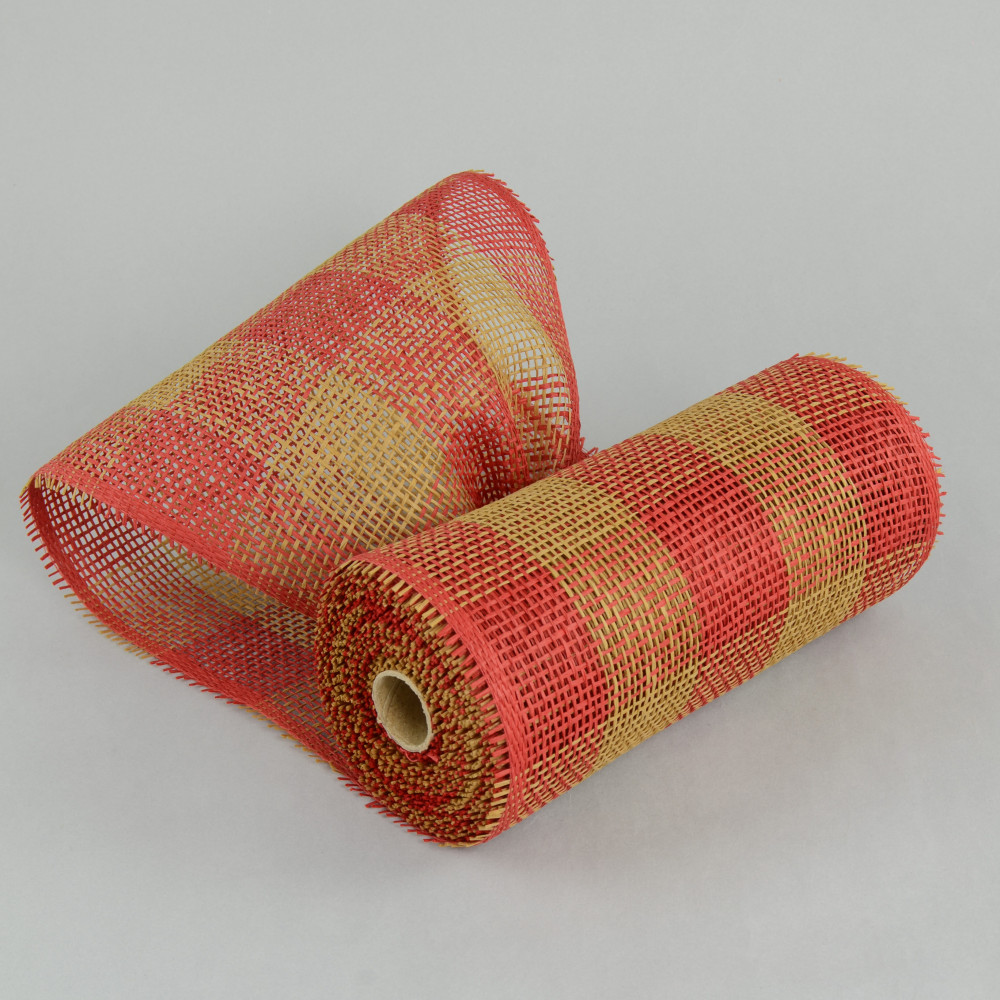 10 Quot Paper Mesh Roll Red Tan Plaid Rr800253
