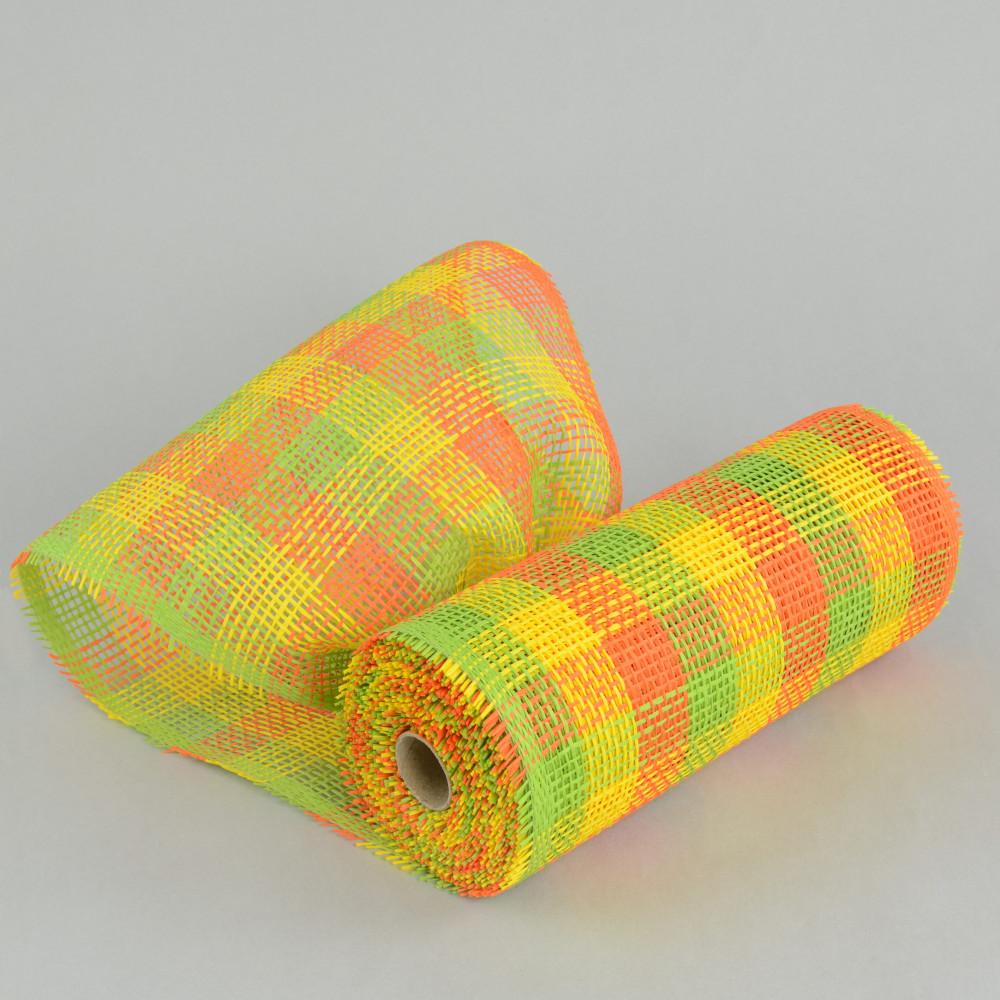 10 quot paper mesh roll lime orange yellow plaid rr800650