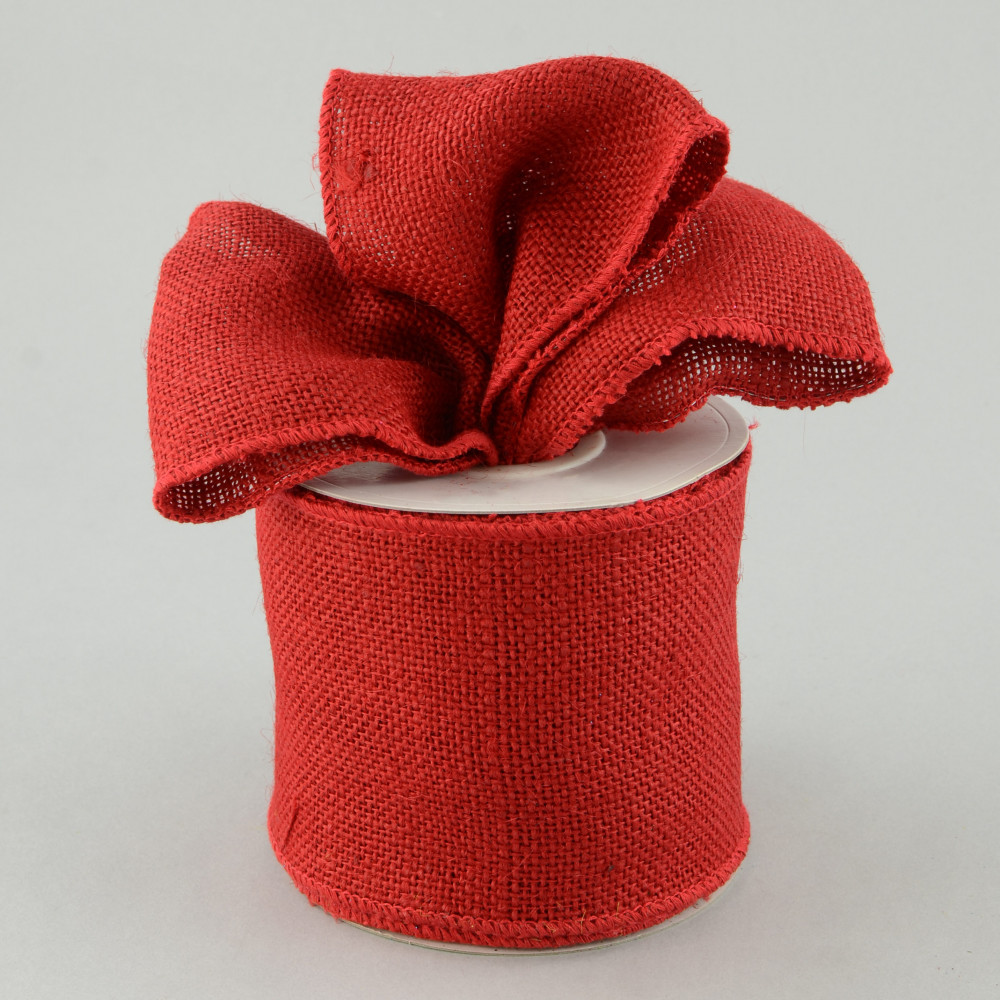 4 burlap ribbon wired edge red 10 yards rw564624 for How to use burlap ribbon