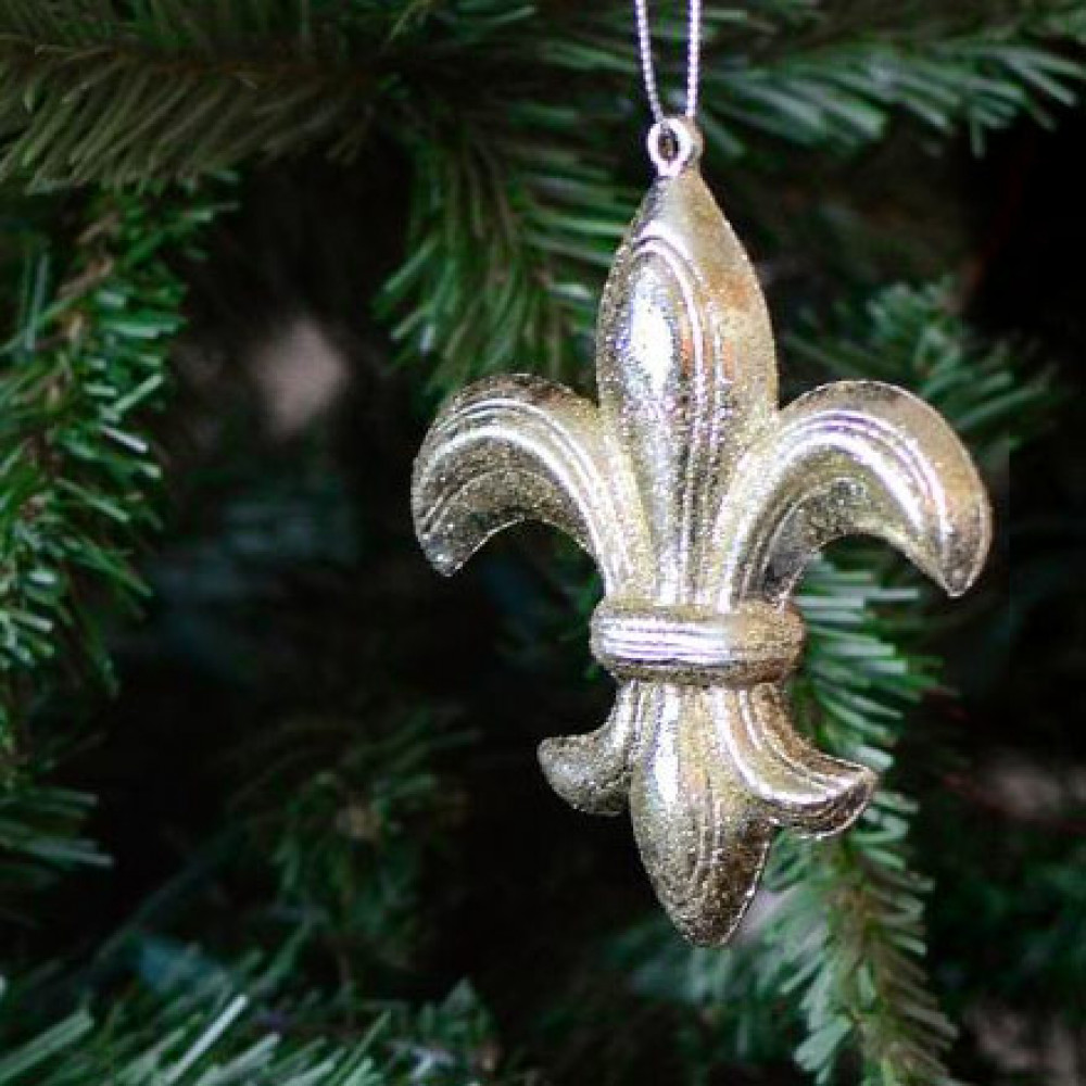 Silver Leaf Decoration 425 Silver Leaf Fleur De Lis Ornament Xy622887