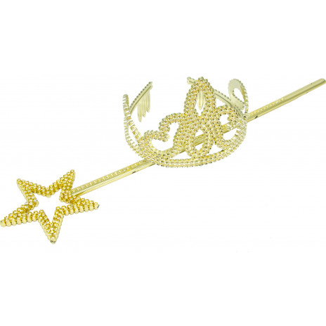 child 39 s gold tiara wand set. Black Bedroom Furniture Sets. Home Design Ideas