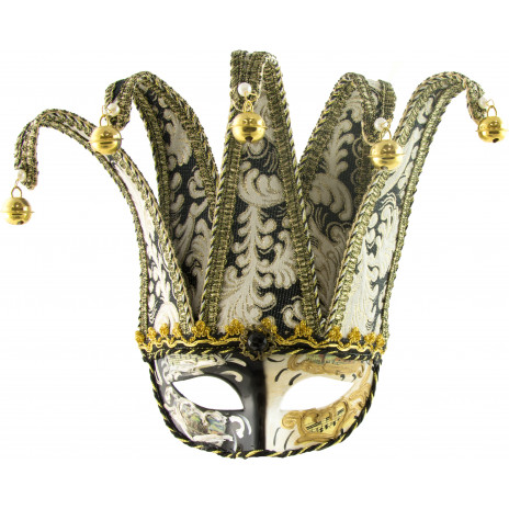Black & Gold Venetian Jester Mask With Brocade Fabric ...
