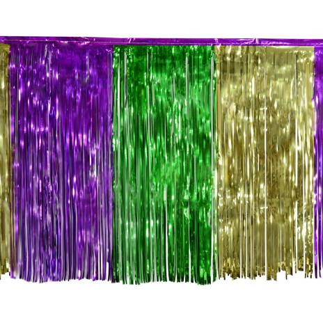 1 Ply Fringe Skirting Metallic Mardi Gras 14 X 29