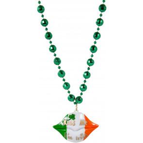 St patricks day beads mardigrasoutlet kiss me im irish lips bead necklace aloadofball Choice Image